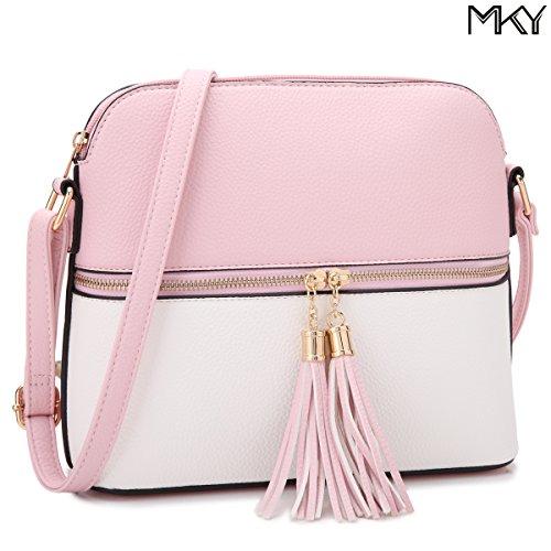 Lady Small Crossbody Bag Purse Lightweight Multi Pocket Shoulder Bag Messenger Bag Faux Leather Pink/White