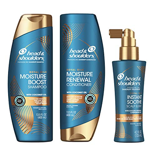 Head and Shoulders Shampoo, Conditioner, and Scalp Elixir Treatment Kit, Anti Dandruff, Royal Oils Collection with Coconut Oil, for Natural and Curly Hair, 13.5 oz, 13.5 oz, and 4.2 oz ()