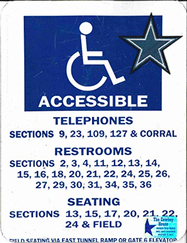 Texas Stadium Concrete Column Restroom, Telephone, and Seating detail Sign Dallas Cowboys Memorabilia (The Cowboy House COA)