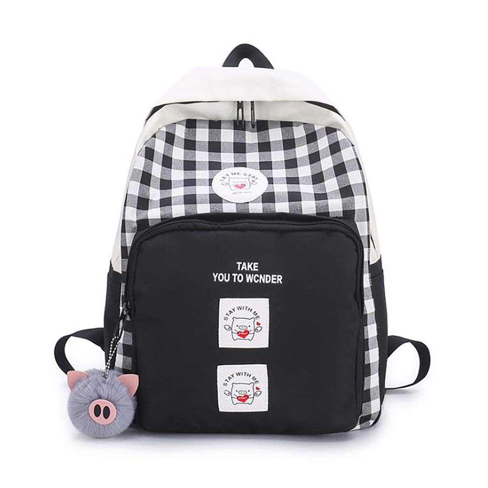 Korean Style College Plaid Backpack Cute Pig Pattern Daily Daypack Laptop Backpacks for Teenagers Black