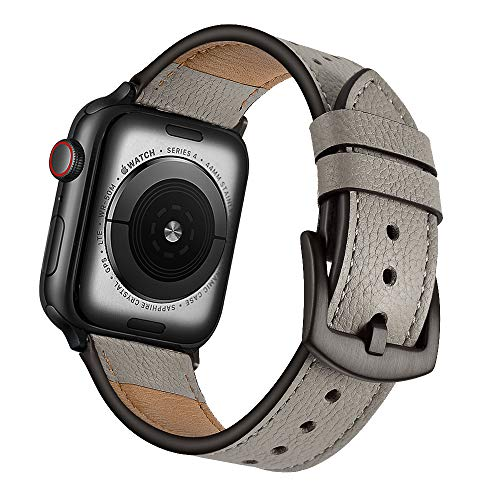 Mifa Leather Watch Band Compatible with Apple Watch 4 44mm 42mm Bands iwatch Series 1 2 3 Nike Sports Replacement Strap Dressy Classic Buckle Vintage Stainless Steel Adapters (44mm/42mm, Grey/Oyster)