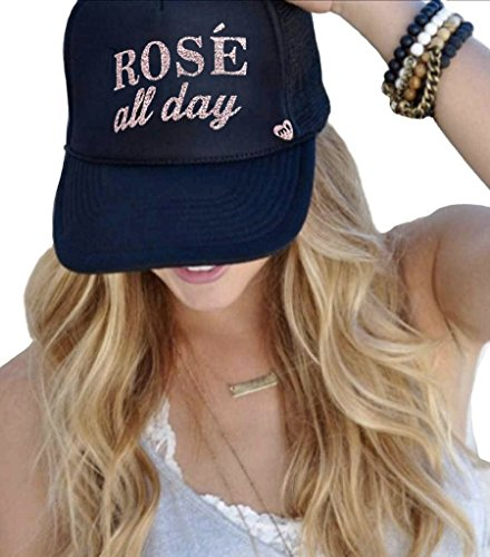 Mother Trucker Women's Rosé All Day Black and Pink Hat ()