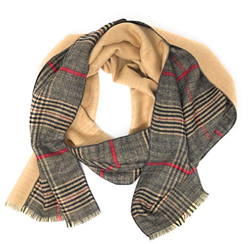 - Women's Plaid Reversible To Solid Soft Stylish Scarf Gift Bag 70 in by 12 in (Camel/Brown Plaid)