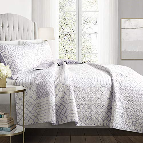 Lush Decor Monique 3 Piece Reversible Print Pattern Lavender Quilt Set-Full Queen (Quilt Lavender Set)