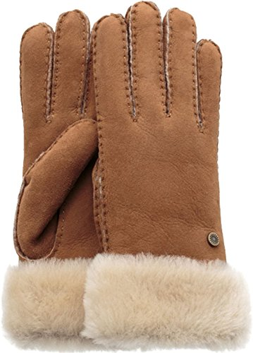 UGG Women's Classic Turn Cuff Waterproof Sheepskin Gloves Chestnut SM by UGG