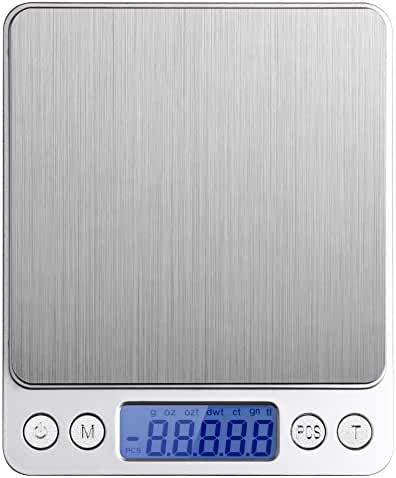 Etekcity 2000g Digital Multifunction Pocket Kitchen Food Scale, Stainless Steel, Backlit Display, 0.01oz Resolution