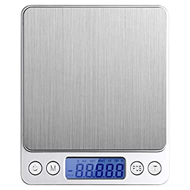 Etekcity 500g Digital Multifunction Pocket Kitchen Food Scale, Stainless Steel, 0.001oz (0.01g) Resolution