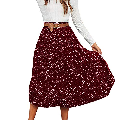 earance Sales! Ladies Elegance Pleated Fashion Polka Dot Printed Swing Boho Long Maxi Evening Party Skirt(Red,L) ()