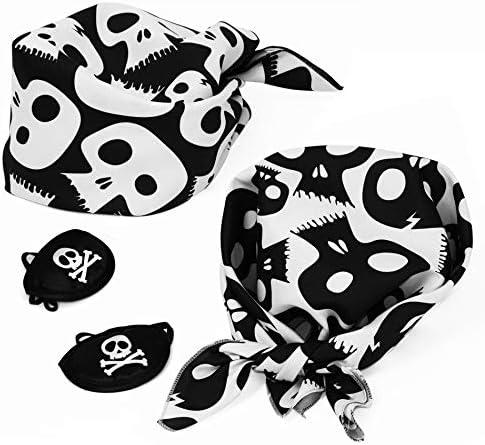 Pirata Bandana y Parche en el Ojo 4 uds. Foulard Pañuelo de cráneo ...