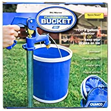 Camco Collapsible Bucket with Storage Case- Durable Pop Up Bucket with Watertight Fabric, Holds 3 Gallons of Water - Great for RVs, Camping, Fishing, Boating, Hiking and More - Blue (42993)