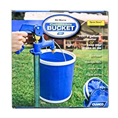 "Camco RV Collapsible Bucket is the perfect size for Rving, camping, fishing, boating and more. Has a 3 gallon capacity. Opens easily to 9.25"" tall and folds to less than 2"" for compact storage. Zippered storage bag included."