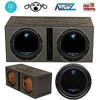 2 Planet Audio 12 3600W Subwoofer AC12D 2 +Dual 12 Vented Lined Box Enclosure