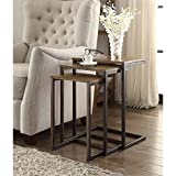 Carolina Classics Astrid Nesting Table in Harvest Oak and Aged Iron