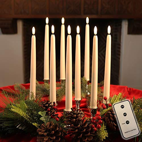 Set of 10 Flameless LED Ivory Taper Candles Featuring Realistic Black Wick with Daily Timer, Remote Control and 20 AA Batteries, Stands not Included