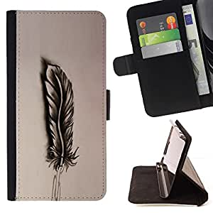 Momo Phone Case / Flip Funda de Cuero Case Cover - Pluma Dibujo de lápiz del arte del pájaro de la sombra - LG G2 D800
