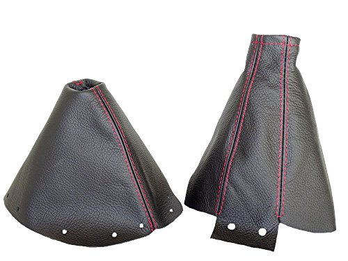 FOR NISSAN 300ZX 1989-2000 SHIFT & E BRAKE BOOT BLACK GENUINE LEATHER RED (Nissan 300zx Manual)