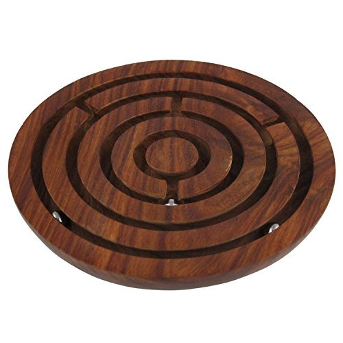 """Indian Glance - """"6 Inch """"Handcrafted Wooden Labyrinth Board Game Balls in Maze Puzzle Toys - Indoor Puzzle Game Gifts for Kids 
