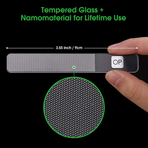 Glass Nail File,Nanomaterial Tempered Glass with Professional FAST Polisher Tool opove F1