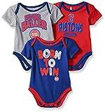 NBA by Outerstuff NBA Newborn & Infant Detroit Pistons Little Fan 3pc Bodysuit Set, Heather Grey, 0-3 Months