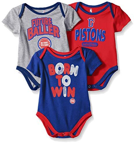 Outerstuff NBA NBA Newborn & Infant Detroit Pistons Little Fan 3pc Bodysuit Set, Heather Grey, 18 Months ()
