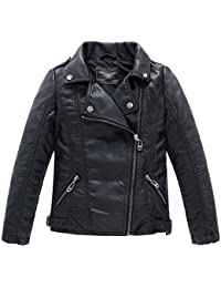 Children's Collar Motorcycle Leather Coat Boys Faux Leather Jacket