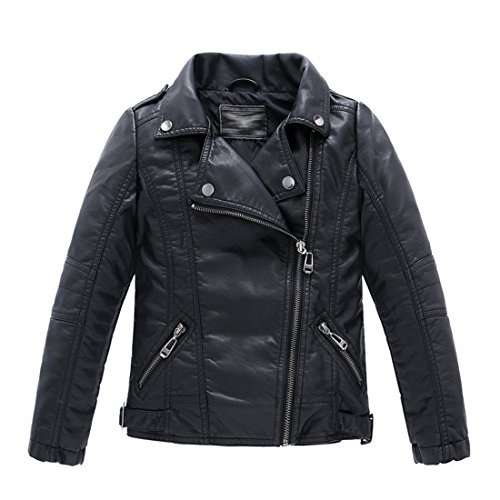 LJYH Children's Collar Motorcycle Faux Leather Coat Boys Leather Velvet Jacket Black T13-14 ()