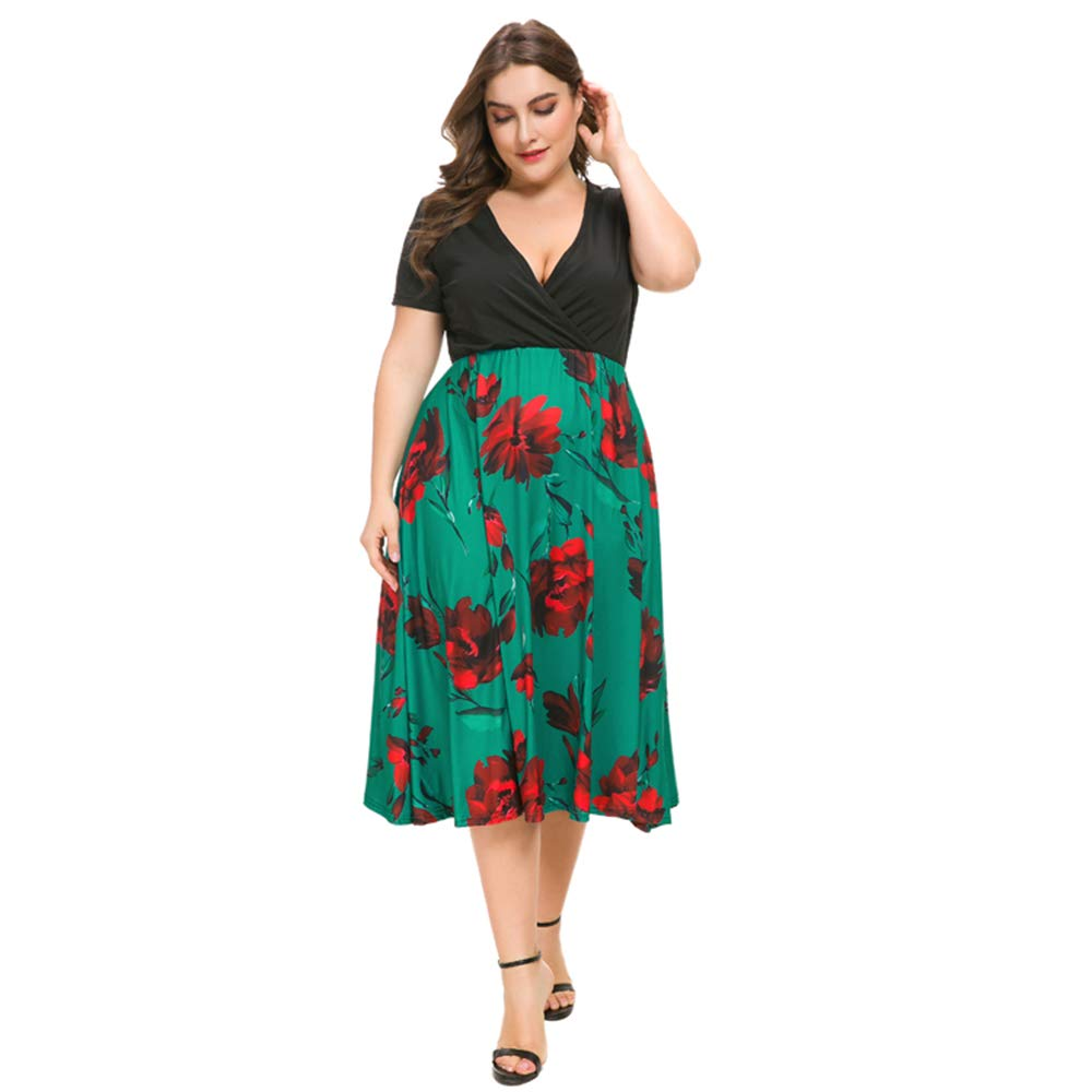afba7a35694c ONine Women's Plus Size Floral Print Midi Dress Casual V Neck Short Sleeve  Summer Swing Dress at Amazon Women's Clothing store: