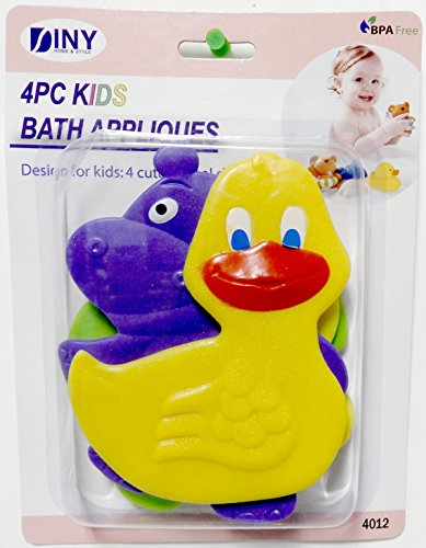 DINY Non-Slip Children's Bath Tub Applique with Suction Cup Bottom Combo 4 Pack