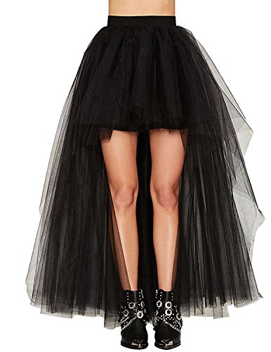Women's Black Mesh Tulle High Low Dance Party Skirt A-Line Petticoat For Dresses,OneSize
