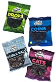 Gustafs Premium Dutch Licorice Drops, Cats, Coin and Double Salt Bundle in 5.2-Ounce Bags each (4 packs total)