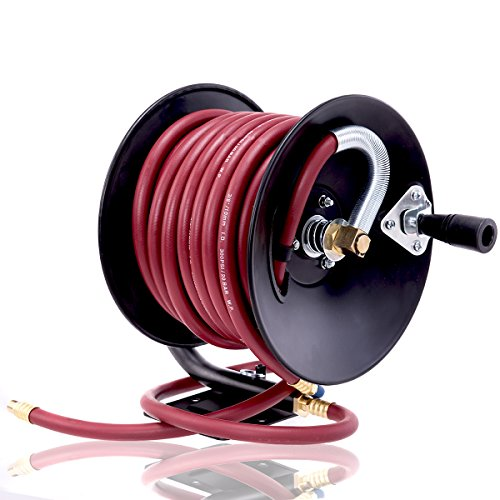Goplus Air Hose Reel Hand Crank Metal Construction, Portable Compressed Air Hose 3/8-inch 50ft, 300PSI (Hose Plastic Reel Air)
