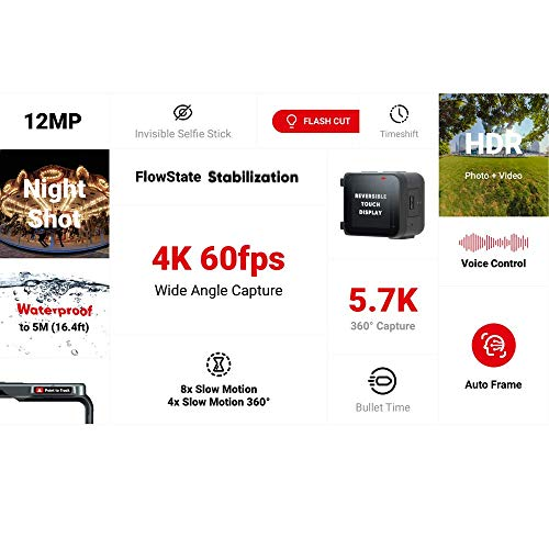 Insta360 ONE R Sport Action Video Camera Bundle: 4K Wide Angle Lens, 5.7K Dual-Lens, Bullet Time Accessory, Stabilization Waterproof Voice Control Touch Display, Mytrix 128GB U3 SD Card (Renewed)
