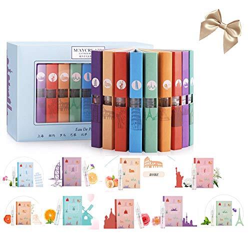 9 Pcs Mini Perfume Gift Set for Women, LuckyFine 9 Scent City Fragrances Kit Spray Perfume for Girls Valentine's Day Gift Set ()