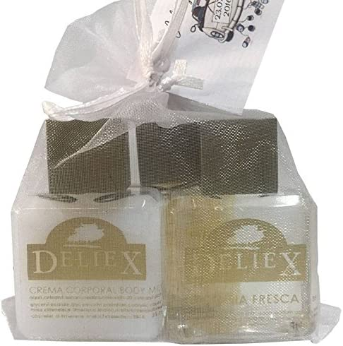 Pack de cosméticos miniatura con colonia, sales de baño y bodymilk (30 ml) con bolsita de organza para regalar.Deliex: Amazon.es: Hogar