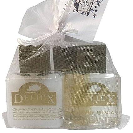 Pack de cosméticos miniatura con colonia, sales de baño y bodymilk (30 ml)