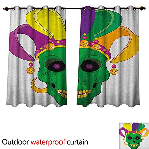 Anshesix Mardi Gras 0utdoor Curtains for Patio Waterproof Scary Looking Green Skull Mask with Carnival Hat Beads and Earring Cartoon Style W72 x L72(183cm x 183cm)