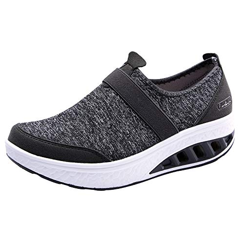 FORUU Women's Casual Shoes Increased Thick-Soled Rocking Shoes Wedge Sneakers