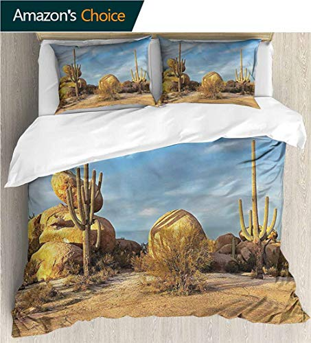 VROSELV-HOME 3D Bedding Quilt Set,Box Stitched,Soft,Breathable,Hypoallergenic,Fade Resistant Reversible Coverlet,Bedspread,Gifts for Girls Women-Cactus Saguaros Boulders Sunset (87