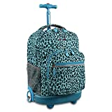J World New York Sunrise Rolling Backpack, Mint Leopard, 18""
