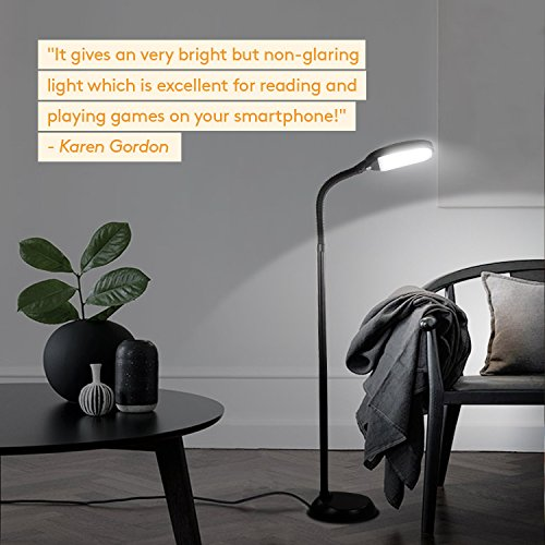 Brightech Litespan LED Reading and Craft Floor Lamp - Dimmable Full Spectrum Natural Daylight Sunlight LED Standing Light with Gooseneck for Living Room Sewing Bedroom Office Task - Black (Certified R by Brightech (Image #4)