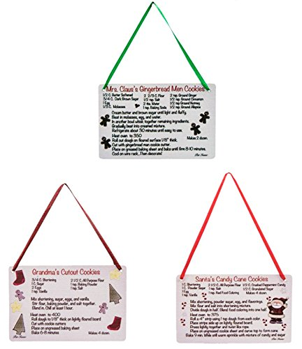 Set of 3 Wood Christmas Cookie Recipe Ornaments - Santa, Mrs. Claus, and Grandma - 4 x 2.75 - Country Kitchen Primitive Look -  Hearthside
