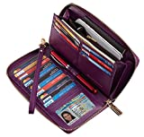 SimpacX Chelmon Womens RFID Blocking Wallet Genuine Leather Zip Around Clutch Large Travel Wallet Purse Passport Holder (pebble purple)