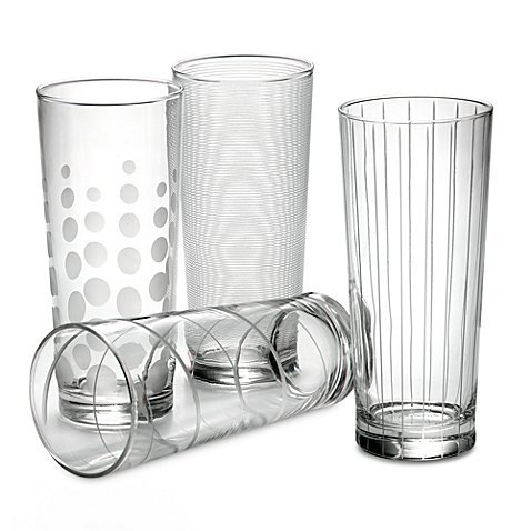 Mikasa Cheers Highball Glasses (Set of 4) made of Glass, 19-3/4 - Highball Glasses Four