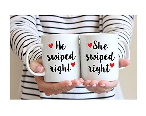 He Swiped Right She Swiped Right Mug   Tinder Mug Set   Tinder Gift   Girlfriend Gift   Boyfriend Gift   Swiped Right Gift   Anniversary Gift   11oz - Friday Marcos San Black