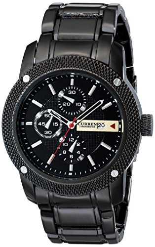 Luxury New Curren Army Black Stainless Steel Date Sports Quartz Mens Wrist Watch (Black+Black) (Current Watch For Men)