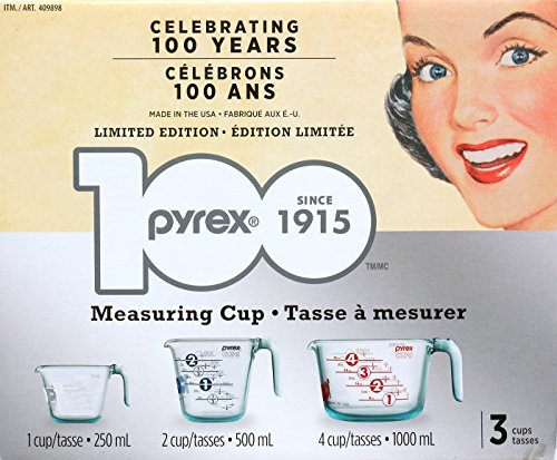 Pyrex 3 Measuring Cups 1,2,4 Cups Limited Edition 996093 - Measuring Cup Set Pyrex