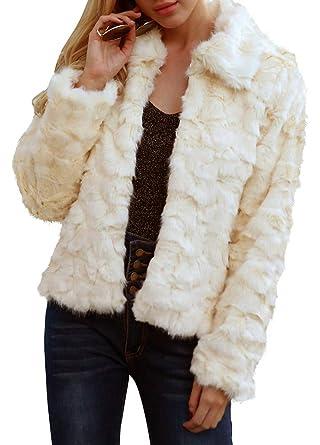 Romacci Abrigo de Piel sintética de Las Mujeres Chaqueta de Mangas largas Turn-Down Collar Furry Casual Overvest Outwear: Amazon.es: Ropa y accesorios