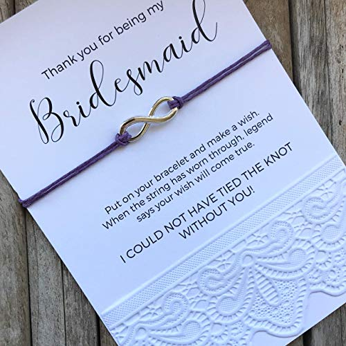 (Carrie Clover Bridesmaid Thank you - for Being my Bridesmaid, Bridal Thank You Gifts, Thank You for Helping us Tie the Knot, Bridesmaid Bracelets, Personalized Bridesmaid gifts, B5)