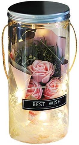 BIOBEY Jabón De Aromaterapia Artificial Rose Flower En Una Botella Clara De Deseos con Luces Led Nocturnas para Bodas Favores Navideños del Día De La Madre