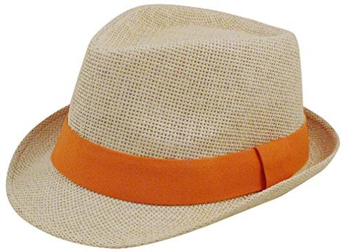 [Eqoba Man and Women's Summer Short Brim Natural Straw Fedora Hat, Orange] (Gangster Hats For Sale)